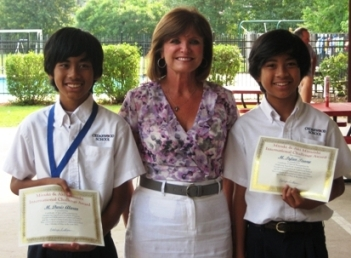 Pictured from left to right are M. Daris Alwan, Principal Kathy LeBlanc, and m.Irfan Tsany