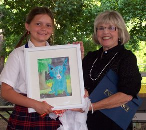 Pictured is Hanna van de Mortel, with Art teacher, Erin Brady, who presented Hanna with a framed piece of her own artwork completed in art class at Cedarwood